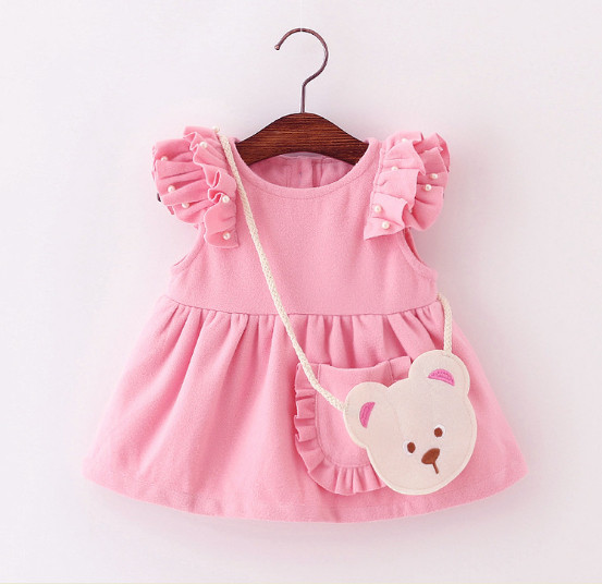 V737 - Váy dạ hồng tay cánh tiên kèm túi gấu cho bé 6kg - 12kg; 3th - 24th; sz M - XXL