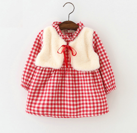 V734 - Váy kẻ đỏ lót lông giả gile dày ấm cho bé 10kg - 14kg; 1t - 3t; sz 7 - 13