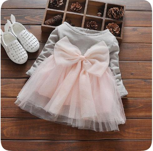 V735 - Váy thun dài tay chân váy ren hồng cho bé 8kg - 15kg; 8th - 3t; sz 6 - 12