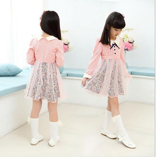 V682 - Váy dài tay hồng chấm bi chân ren hoa cho bé 13kg - 28kg; 3t - 8t; sz 120 - 160