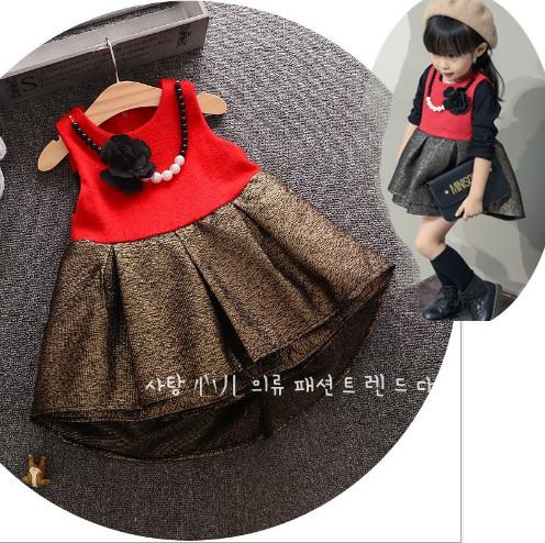 V736 - Váy dạ đỏ đuôi cá nhũ vàng kèm vòng cho bé 11kg - 15kg; 18th - 3t; sz 5 - 11