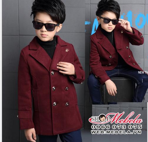 KT136 Áo vest dạ màu booc đô cho bé trai 5 tuổi trở lên, 20 - 45kg, sz120-160