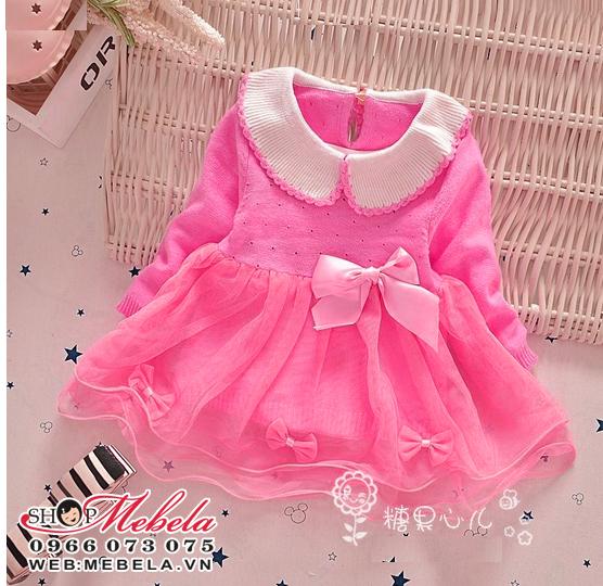 V674 Váy len hồng xinh cho bé 5-12kg, 2tuổi trở xuống sz 4-10