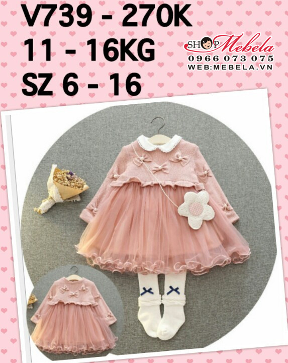 V739 váy len hồng 3 nơ cho bé gái 11-20kg, 18th-5t, sz 6-16