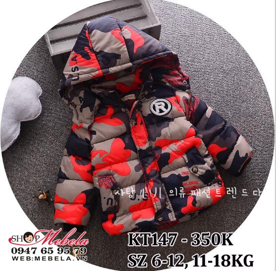 KT147 Áo phao đen đỏ liền mũ cho bé trai 11-18kg, sz 6-12
