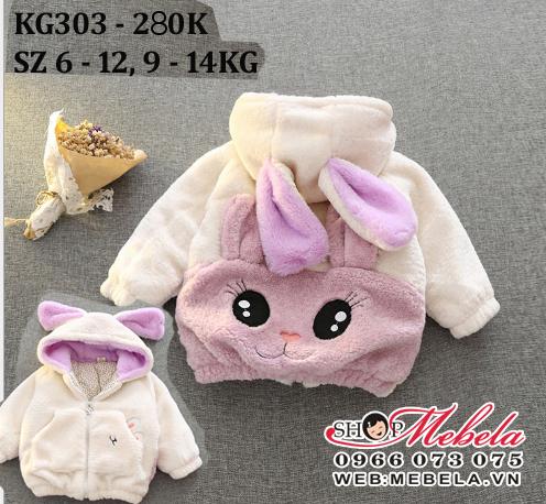 KG303 Áo khoác lông mũ liền tai thỏ, lưng mặt thỏ cho bé gái 9-14kg, 9th-3t, sz 6-12