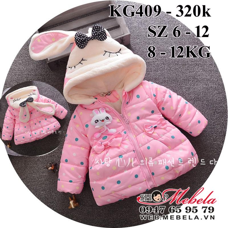 KG409 Áo khoác phao hồng chấm bi mũ liền tai thỏ cho bé gái 8-12kg, sz 6-12 (M-XXL)