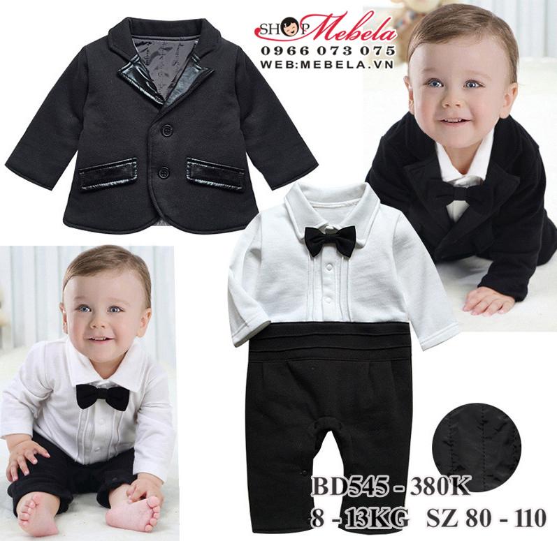BD545 Body áo trắng liền quần  dày ấm kèm vest đen cho bé trai 8-13kg, cao 68- 85cm, sz 80 - 110