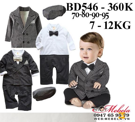 BD546 Body áo trằng liền quần, vest caro kèm mũ cho bé trai 7-12kg, 5-24th, sz 70-95
