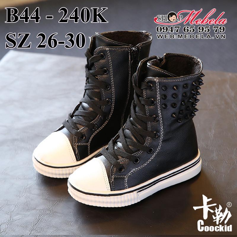 B44 boot đen kéo khóa lót lông mềm cho bé, sz 26-30, 3 -5 tuoi