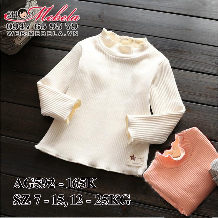 AG592 Áo thun len lót lông mỏng cổ bèo cho bé gái 12-25kg, 2-7t, sz 7-15