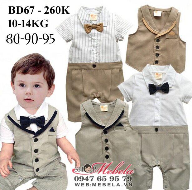 BD67- Bộ body dự tiệc kèm gile vàng cho bé 10-14kg, 1-3 tuổi