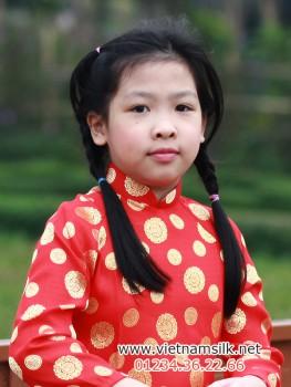 Áo dài cho bé gái gấm Thái Tuấn-GTT1-Màu đỏ đồng xu nhỏ