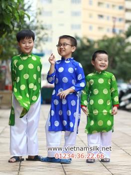 Áo dài cho bé trai gấm Thái Tuấn màu xanh nước biển AT34