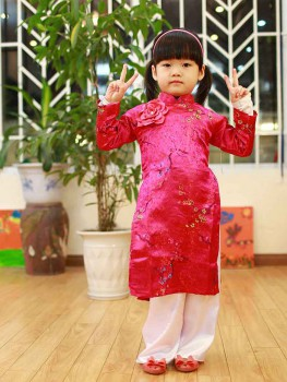 Áo dài truyền thống cho bé gái - Họa tiết hoa mai