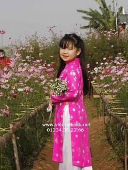 Áo dài bé gái gấm Thái Tuấn màu hồng lá trúc đồng xu GTT.4