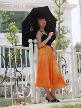 Chân váy lụa màu cam VL.70