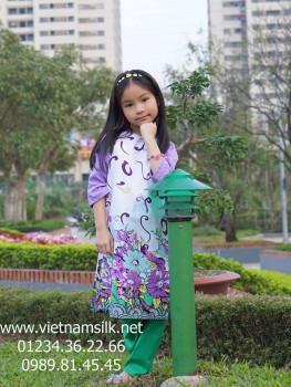 Áo dài cho bé gái MÙA XUÂN TÍM.AT101
