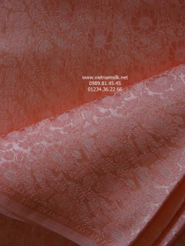Lụa tơ tằm Hà Đông họa tiết hoa cúc màu Hồng cam VL.C121