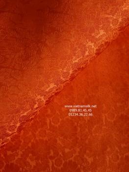 Vải may áo dài lụa Nha Xá họa tiết hoa cúc màu cam (VL.C124)