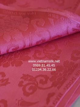 Lụa Hà Đông 100% silk họa tiết hoa hồng lớn màu vỏ đỗ (VL.127)