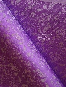 Lụa tơ tằm Vạn Phúc màu tím họa tiết hoa rơi (VL.136)