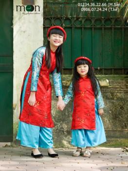 Áo dài gấm Thượng Hải  màu đỏ VNS173