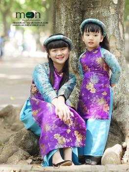 Áo dài gấm Thượng Hải màu tím VNS 175