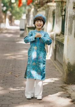 Áo dài gấm Thượng Hải bé trai màu xanh ngọc VNS 180