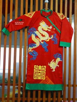 Áo dài vẽ cho bé trai VNS 207 - Thô đỏ vẽ Rồng hiện đại
