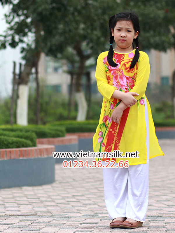 áo dài voan lụa cho bé gái