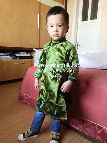 Áo dài cho bé trai-Họa tiết chuồn chuồn.AT9