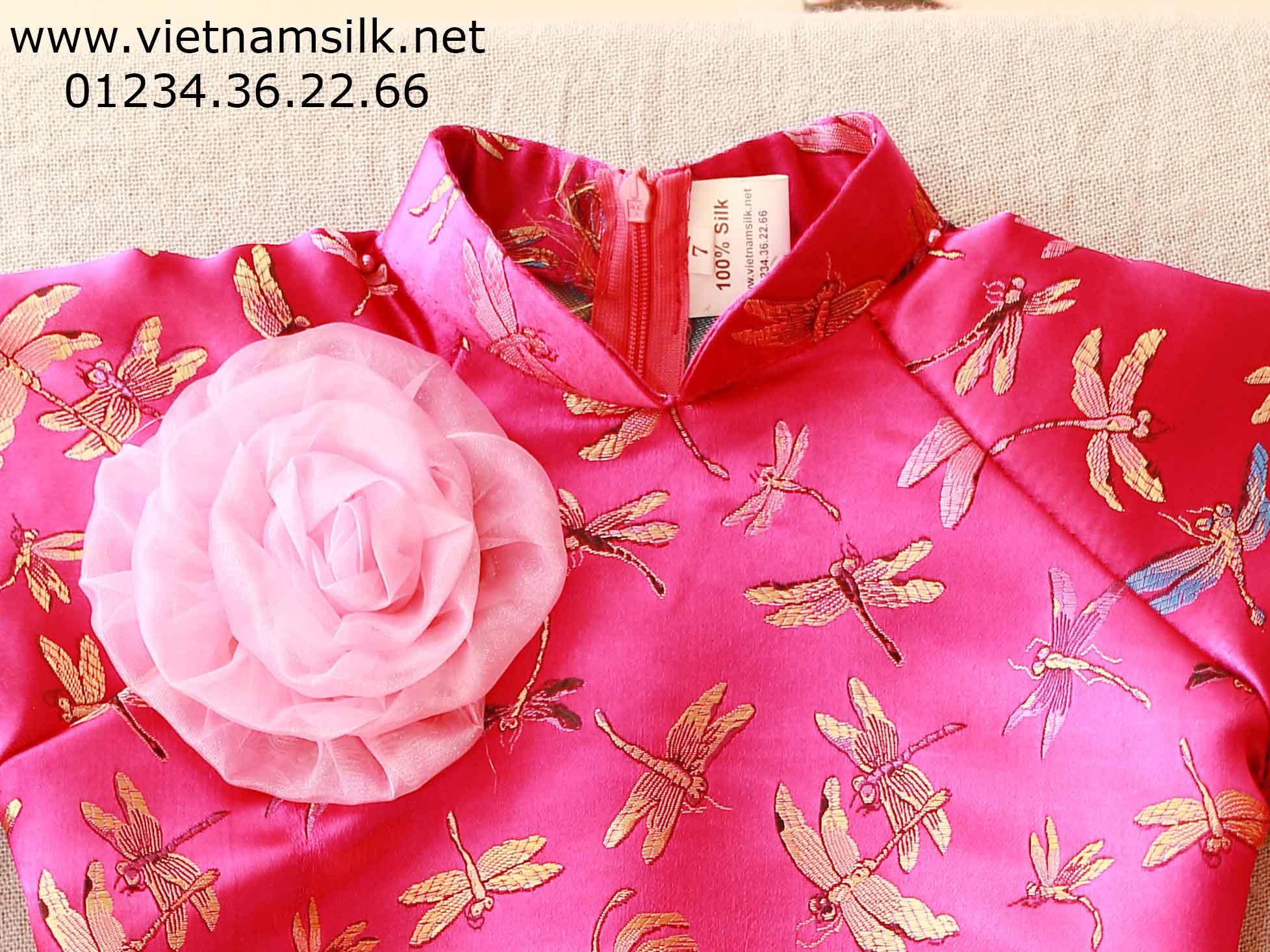 Áo dài chuồn chuồn hồng sen cho bé gái