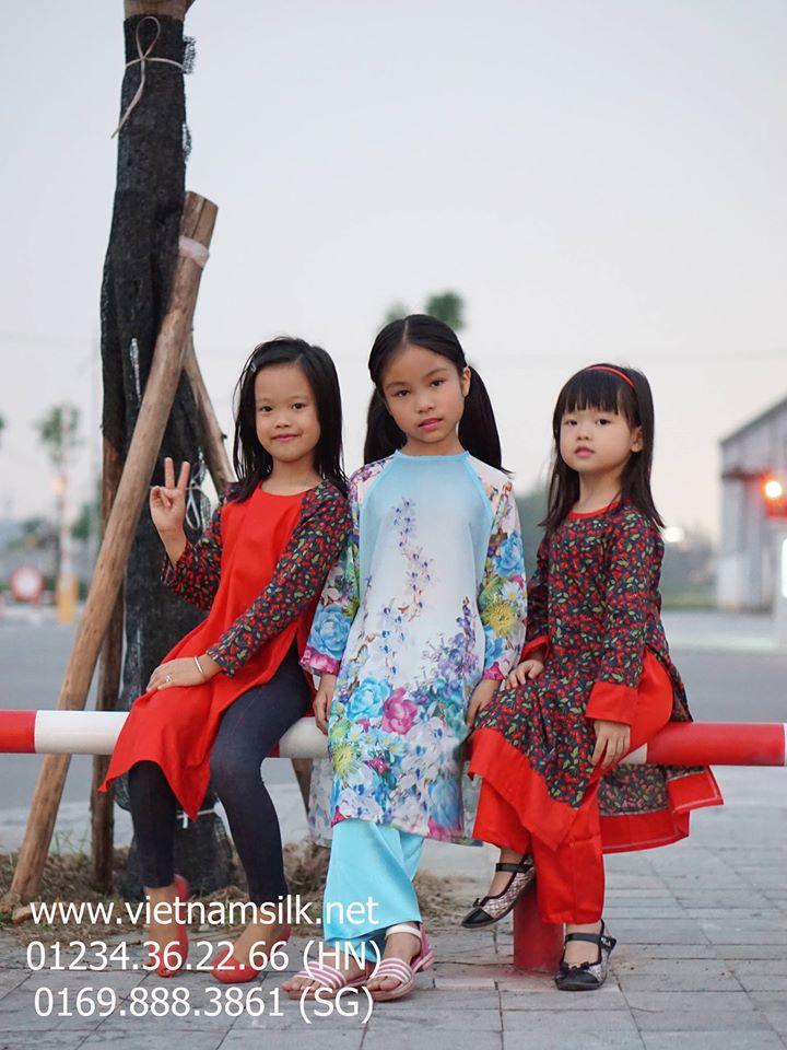 Áo dài cho bé gái Cherry đỏ AT90