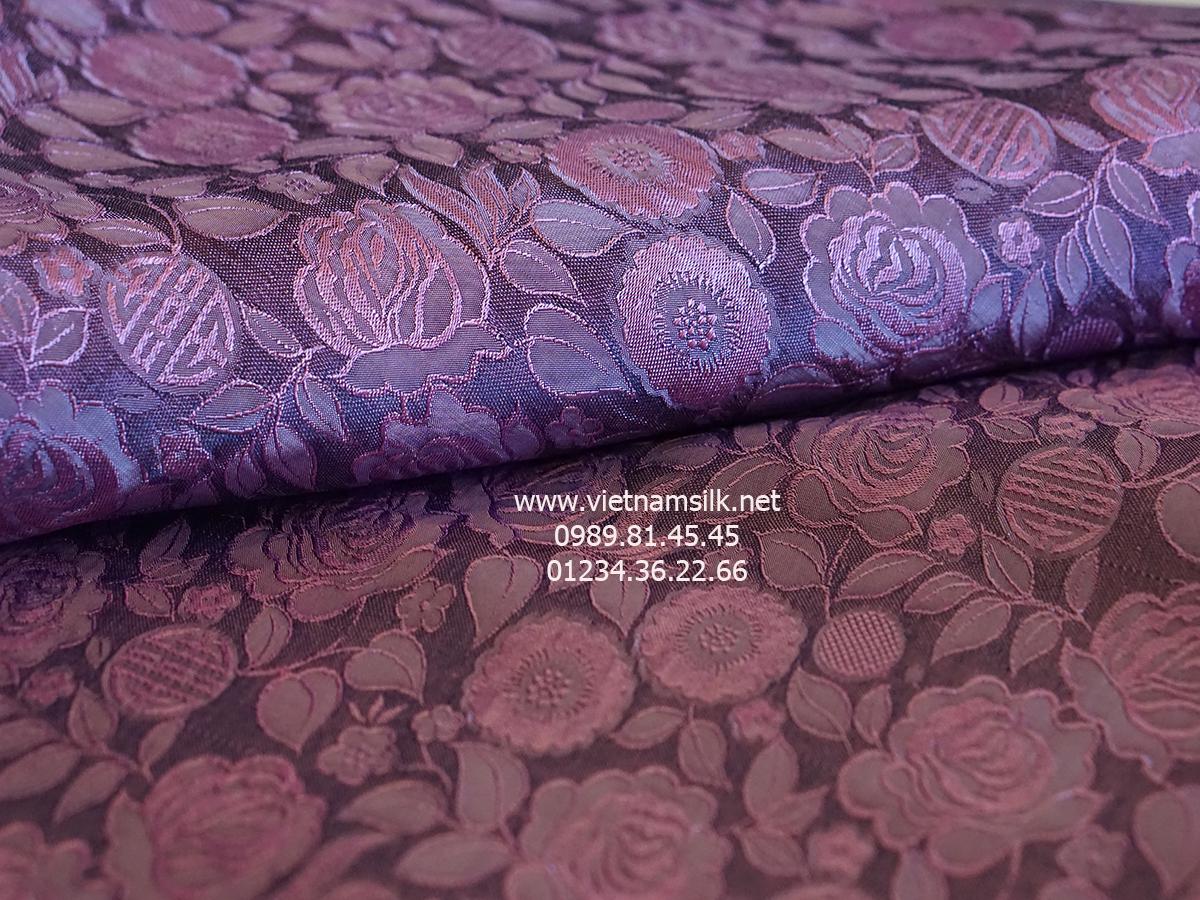 Lụa hoa hồng thọ màu tro hoa hồng (VL.126)