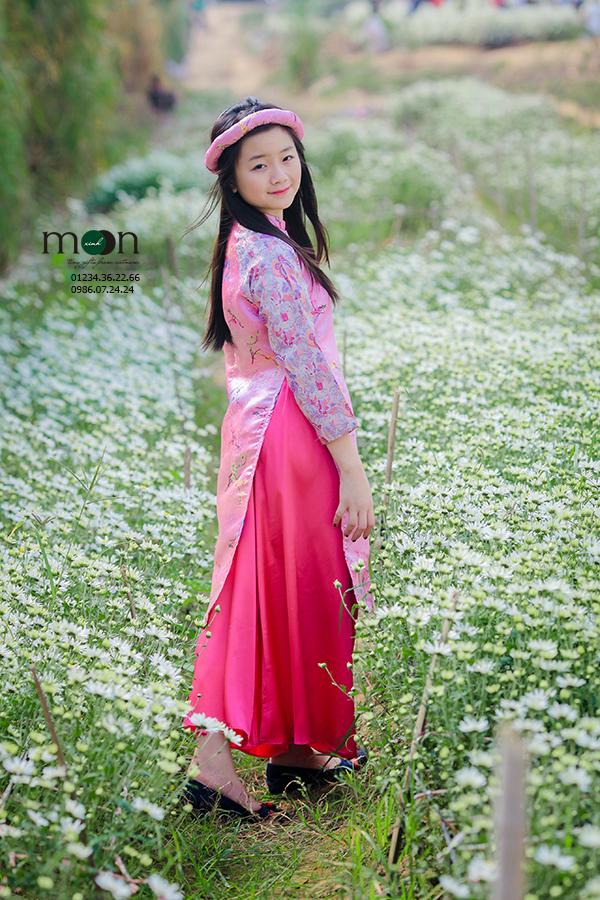 Áo dài gấm Thượng Hải hồng phấn VNS 198