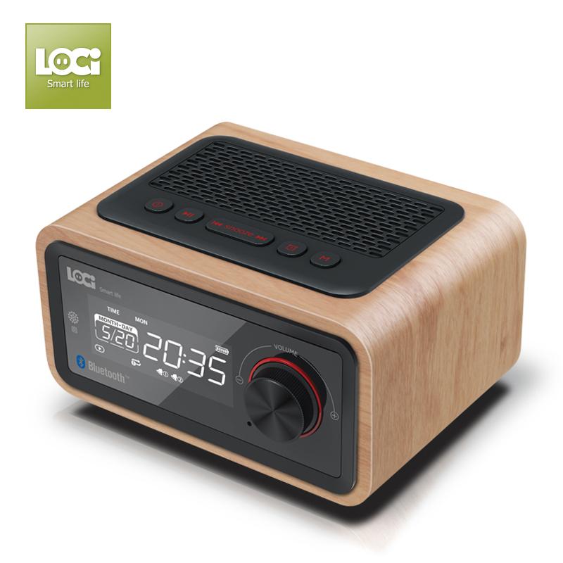 ĐÀI FM BÁO THỨC , BLUETOOTH ,USB , TF card , VỎ GỖ LOCI H90 NEW MODEL