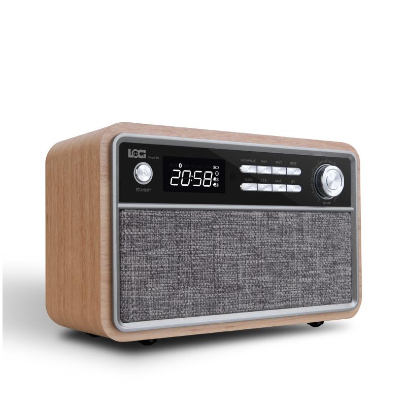 ĐÀI FM BÁO THỨC , BLUETOOTH , USB VỎ GỖ CỔ ĐIỂN LOCI D29