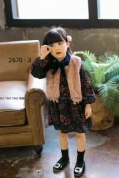 2670. Set Váy hoa TZ lót nỉ nhung - 172 vab
