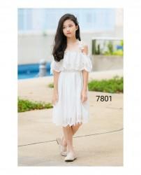 7801. Váy thô ren trắng 2 dây