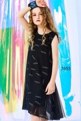 7653. Váy voan đen sát nách rất phong cách