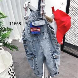 11568. Quần yếm jeans túi hộp unisex