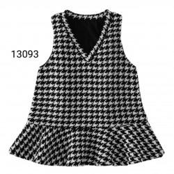 13093 Váy dạ cổ tim trắng đen