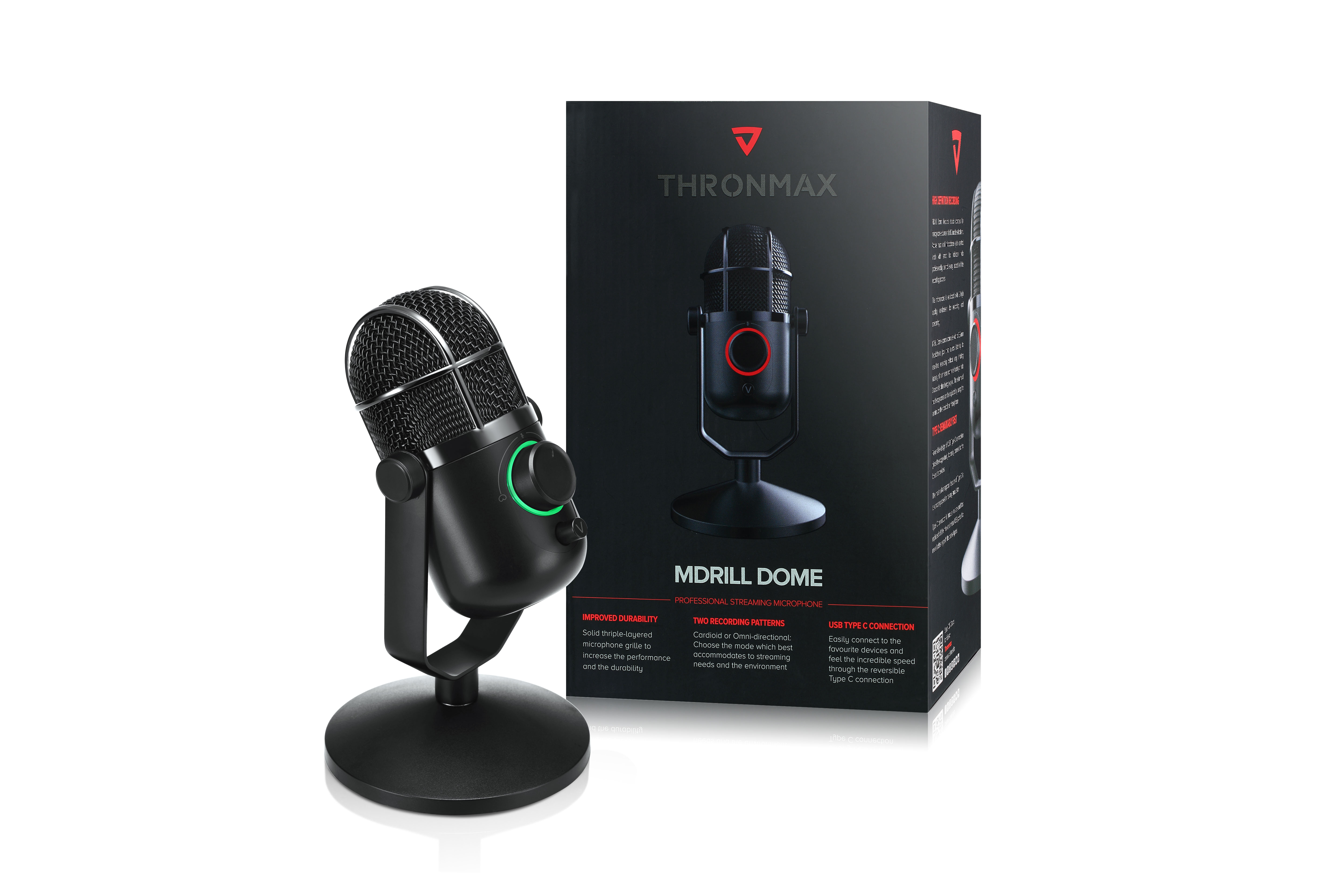 Microphone Thronmax Mdrill Dome M3 Jet Black