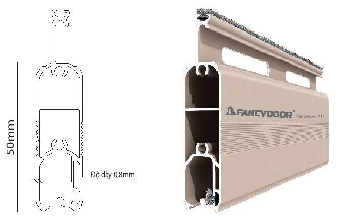 Fancydoor 713 cửa cuốn khe thoáng siêu êm giảm chấn 2 chiều