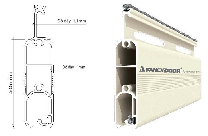 Fancydoor 891 cửa cuốn khe thoáng siêu êm giảm chấn 2 chiều