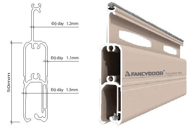 Fancydoor 985 cửa cuốn khe thoáng siêu êm giảm chấn 2 chiều