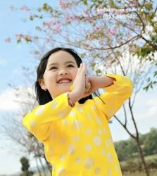 Áo dài trẻ em - Họa tiết đồng xu vàng
