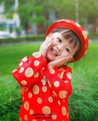 Áo dài trẻ em - Họa tiết đồng xu đỏ
