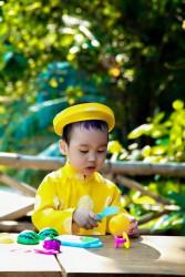Áo dài trẻ em - Họa tiết đồng xu bé trai Vàng